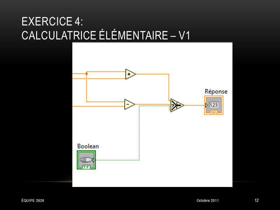 EXERCICE 4: CALCULATRICE ÉLÉMENTAIRE – V1 Octobre 2011ÉQUIPE 2626 12