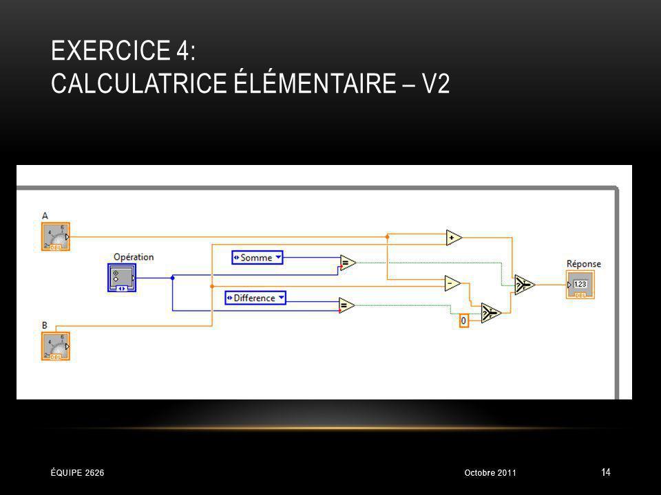 EXERCICE 4: CALCULATRICE ÉLÉMENTAIRE – V2 Octobre 2011ÉQUIPE 2626 14