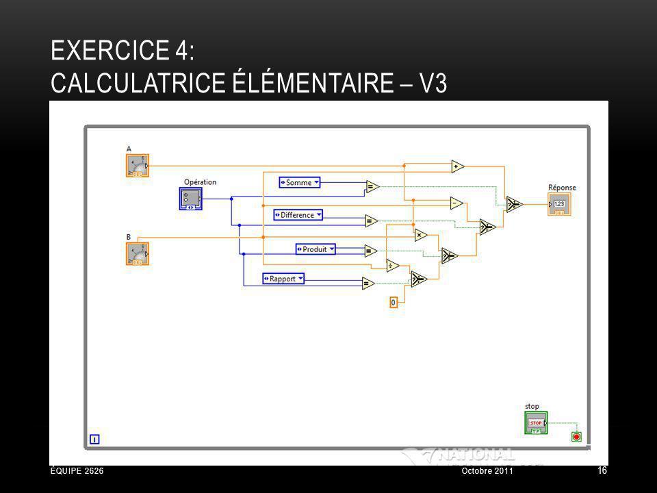 EXERCICE 4: CALCULATRICE ÉLÉMENTAIRE – V3 Octobre 2011ÉQUIPE 2626 16