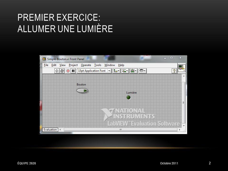 PREMIER EXERCICE: ALLUMER UNE LUMIÈRE Octobre 2011ÉQUIPE 2626 3