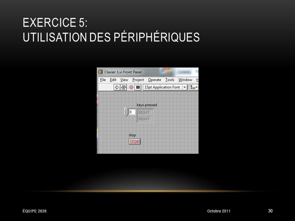 EXERCICE 5: UTILISATION DES PÉRIPHÉRIQUES Octobre 2011ÉQUIPE 2626 30
