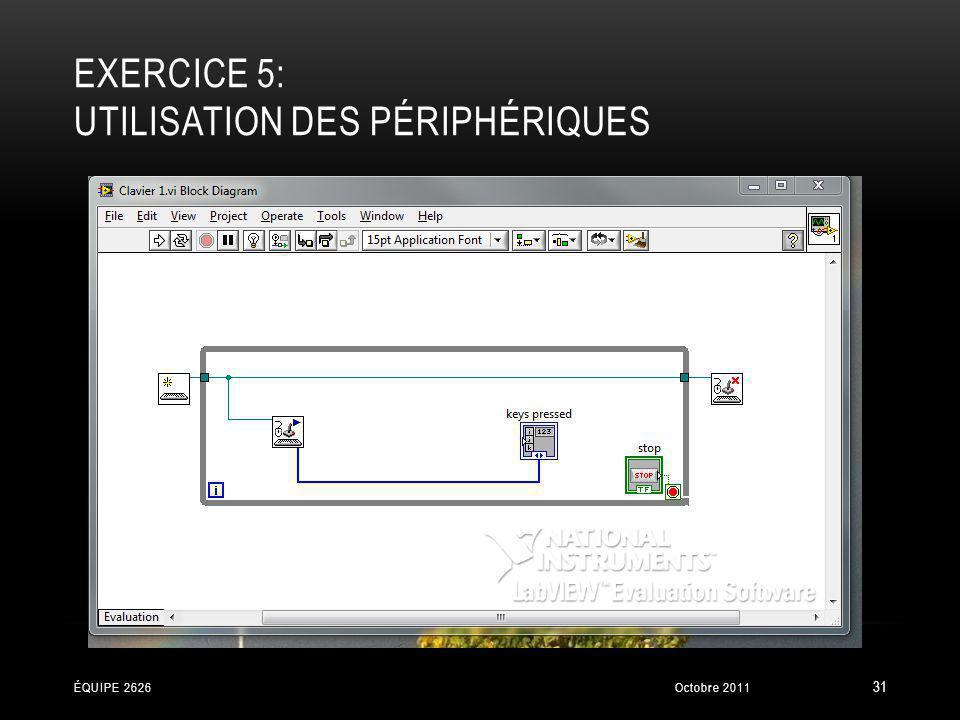 EXERCICE 5: UTILISATION DES PÉRIPHÉRIQUES Octobre 2011ÉQUIPE 2626 31