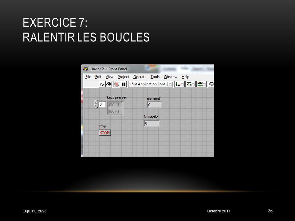 EXERCICE 7: RALENTIR LES BOUCLES Octobre 2011ÉQUIPE 2626 35