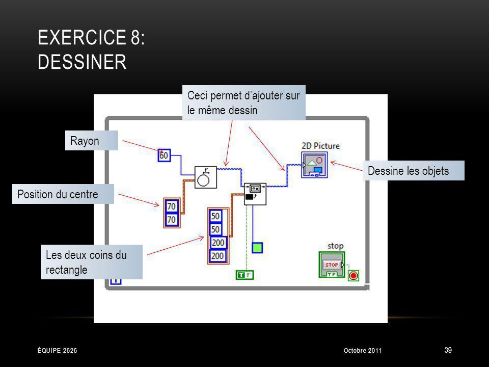 EXERCICE 8: DESSINER Position du centre Rayon Les deux coins du rectangle Dessine les objets Ceci permet dajouter sur le même dessin Octobre 2011ÉQUIP