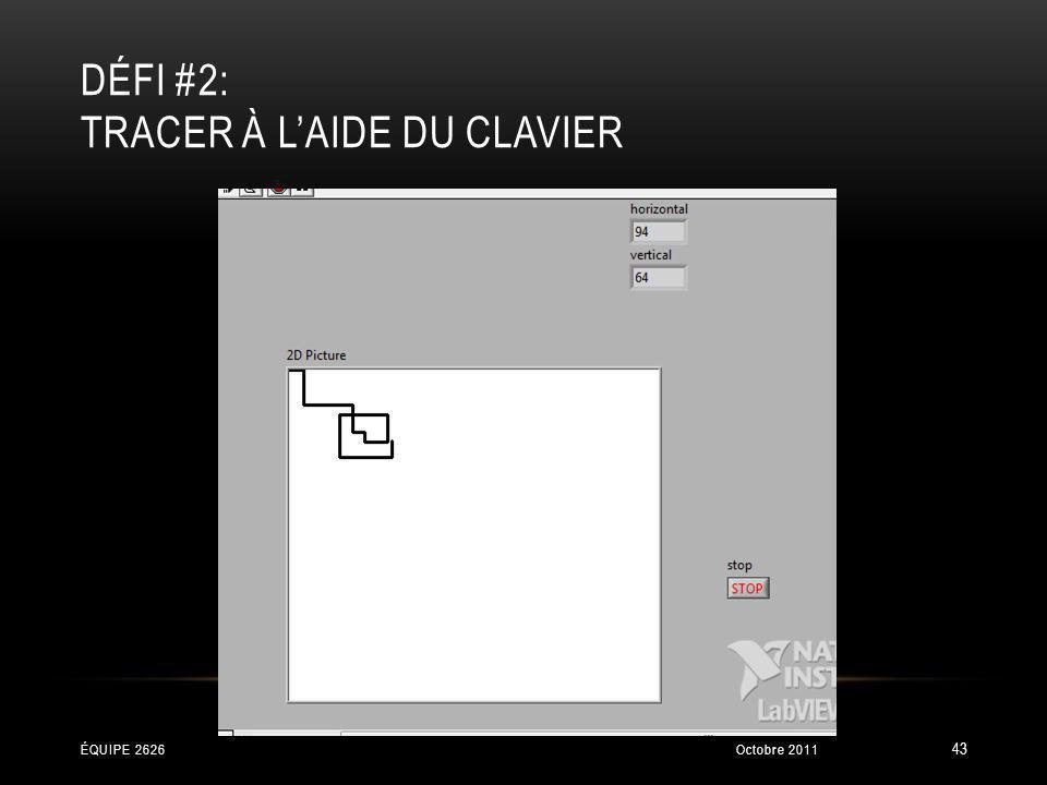 DÉFI #2: TRACER À LAIDE DU CLAVIER Octobre 2011ÉQUIPE 2626 43