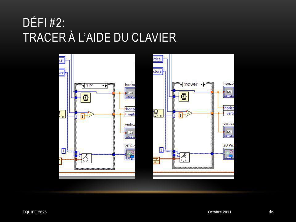 DÉFI #2: TRACER À LAIDE DU CLAVIER Octobre 2011ÉQUIPE 2626 45