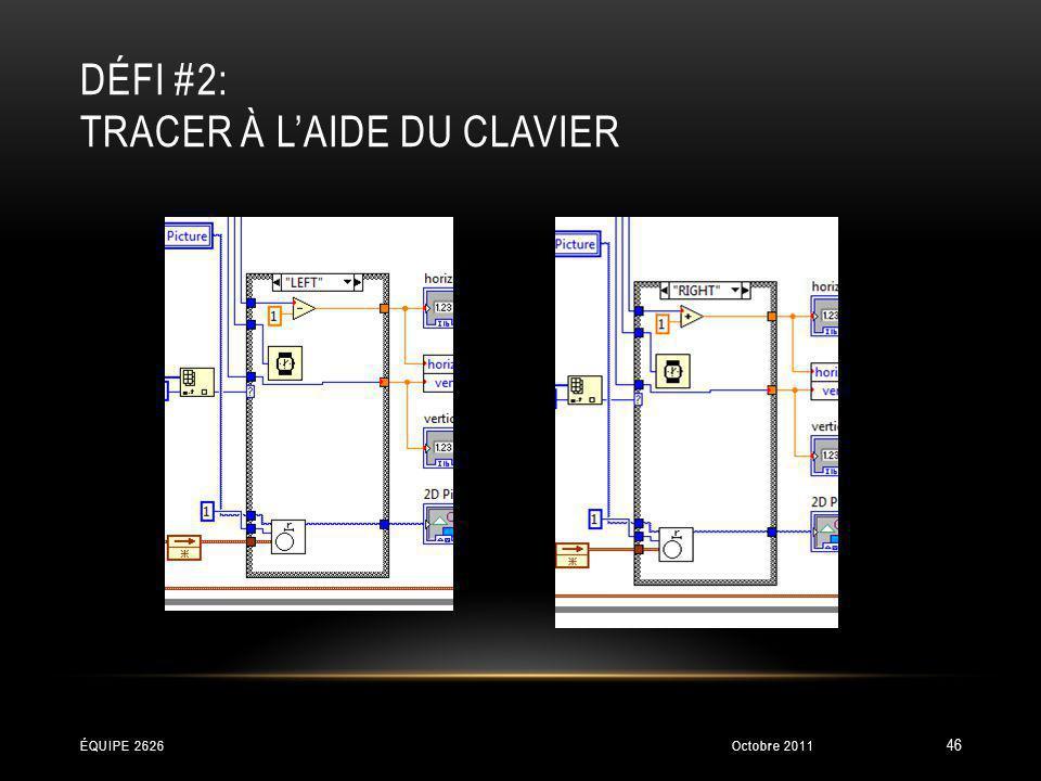 DÉFI #2: TRACER À LAIDE DU CLAVIER Octobre 2011ÉQUIPE 2626 46