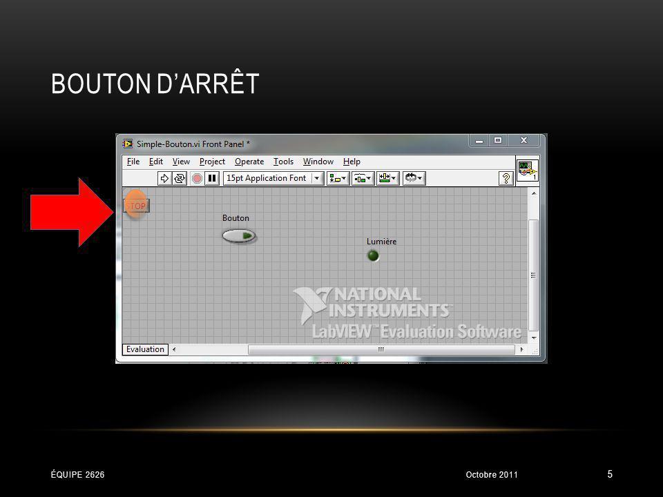 BOUTON DARRÊT Octobre 2011ÉQUIPE 2626 5