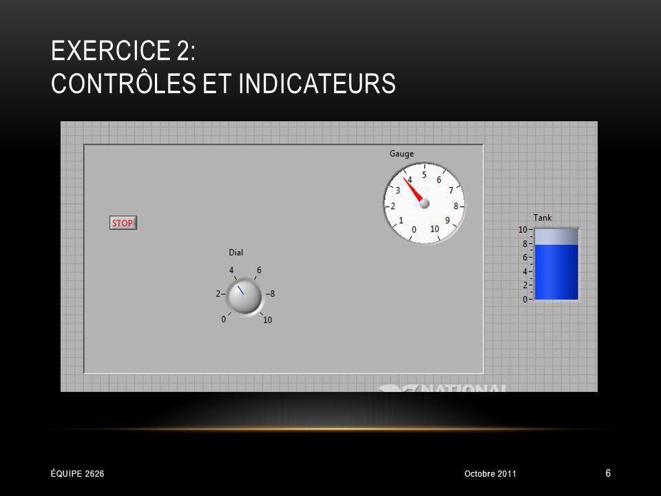 EXERCICE 2: CONTRÔLES ET INDICATEURS Octobre 2011ÉQUIPE 2626 6