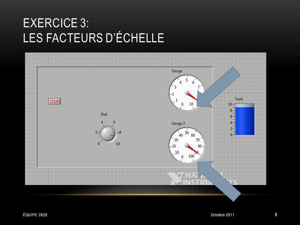 EXERCICE 8: DESSINER Position du centre Rayon Les deux coins du rectangle Dessine les objets Ceci permet dajouter sur le même dessin Octobre 2011ÉQUIPE 2626 39