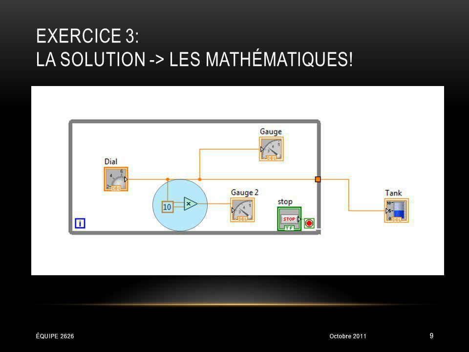 EXERCICE 3: LA SOLUTION -> LES MATHÉMATIQUES! Octobre 2011ÉQUIPE 2626 9