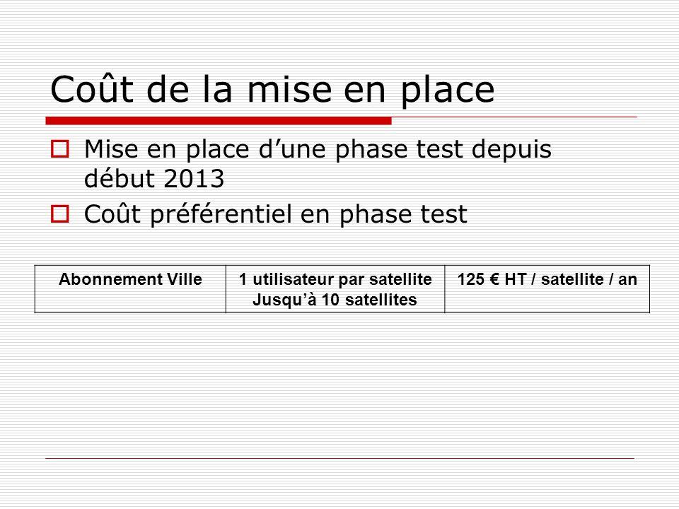 Coût de la mise en place Mise en place dune phase test depuis début 2013 Coût préférentiel en phase test Abonnement Ville1 utilisateur par satellite Jusquà 10 satellites 125 HT / satellite / an