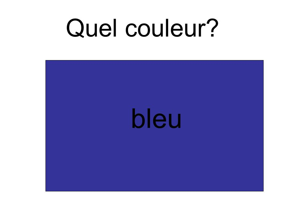 Quel couleur? bleu