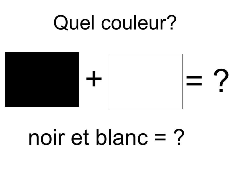 Quel couleur? + = ? noir et blanc = ?