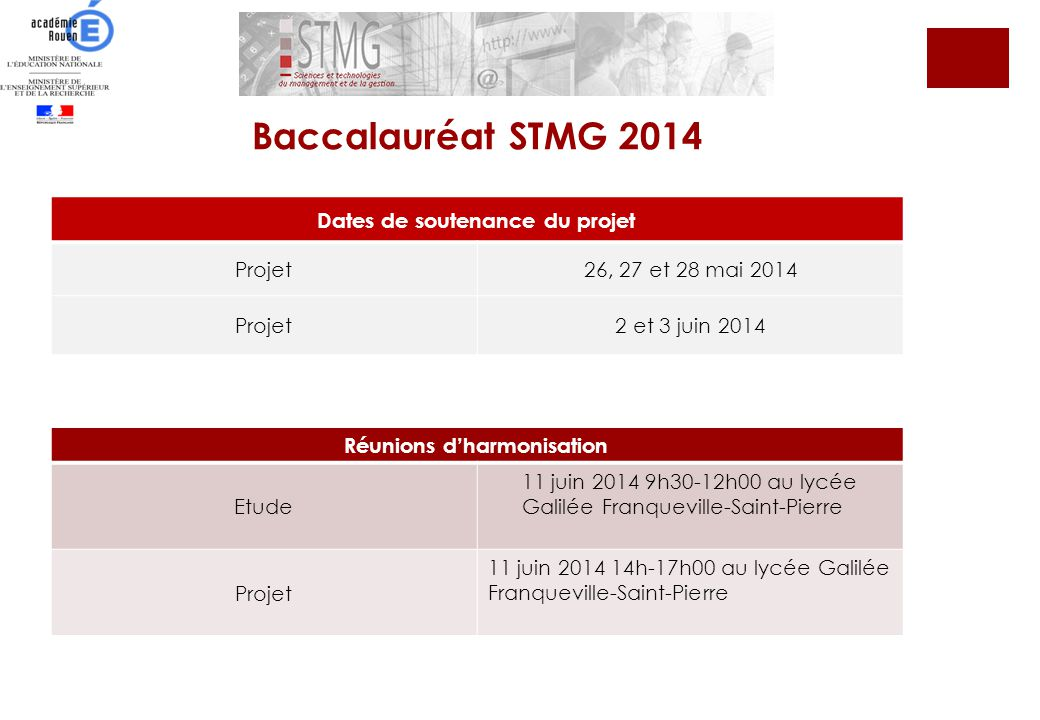 Dates de soutenance du projet Projet26, 27 et 28 mai 2014 Projet2 et 3 juin 2014 Réunion dharmonisation Projet 11 juin 2014 14 h -17 h 00 au lycée Gal