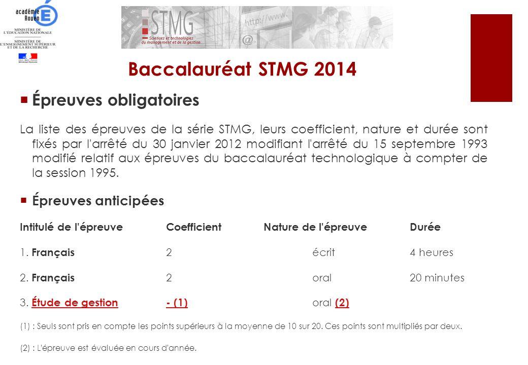Épreuves obligatoires La liste des épreuves de la série STMG, leurs coefficient, nature et durée sont fixés par l'arrêté du 30 janvier 2012 modifiant