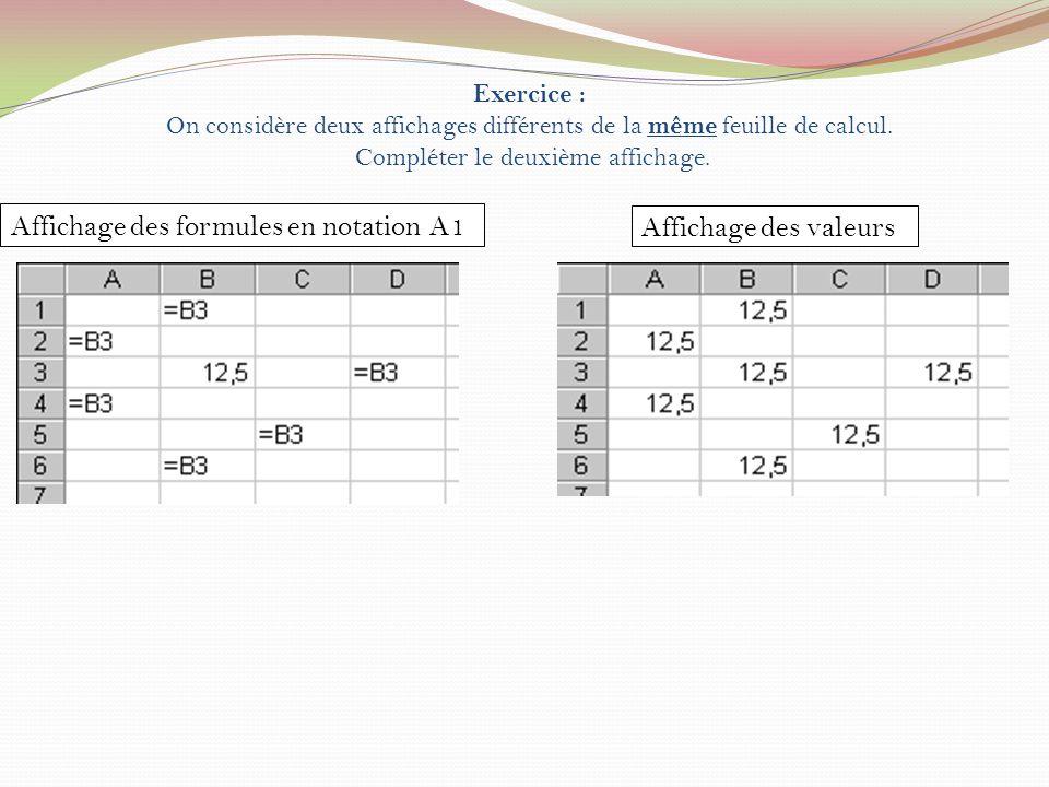 Exercice : On considère deux affichages différents de la même feuille de calcul. Compléter le deuxième affichage. Affichage des formules en notation A