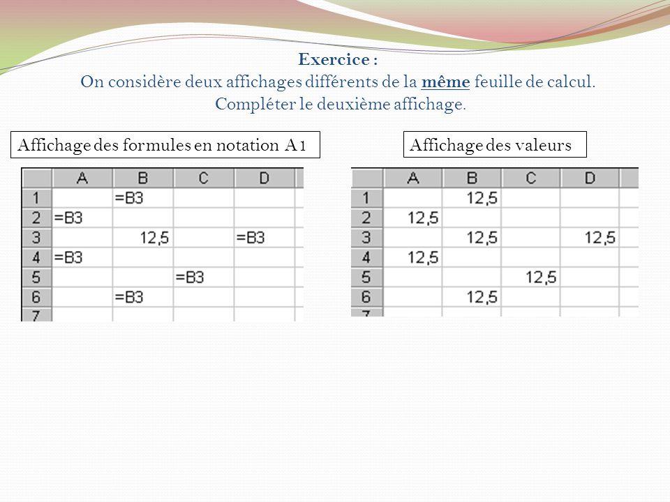 II)Références absolues Exemple : moyenne et moyenne coefficientée On suppose que les références sont exprimées en notation A1.