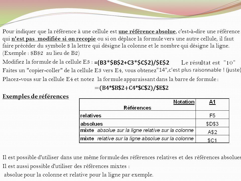 Pour indiquer que la référence à une cellule est une référence absolue, c'est-à-dire une référence qui n'est pas modifiée si on recopie ou si on dépla