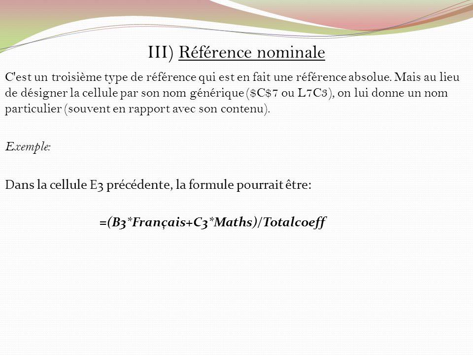 III) Référence nominale C'est un troisième type de référence qui est en fait une référence absolue. Mais au lieu de désigner la cellule par son nom gé