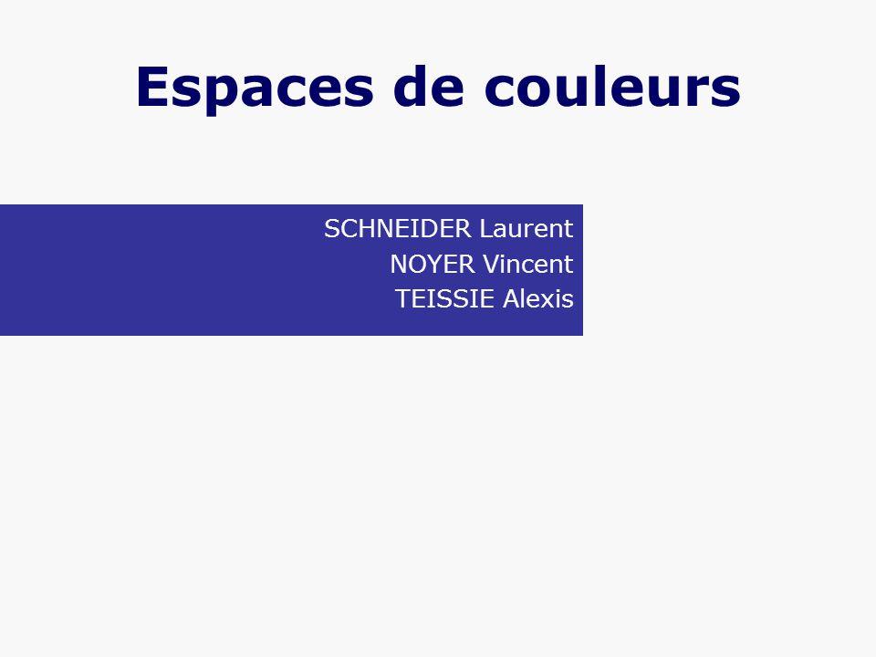 Espaces de couleurs SCHNEIDER Laurent NOYER Vincent TEISSIE Alexis