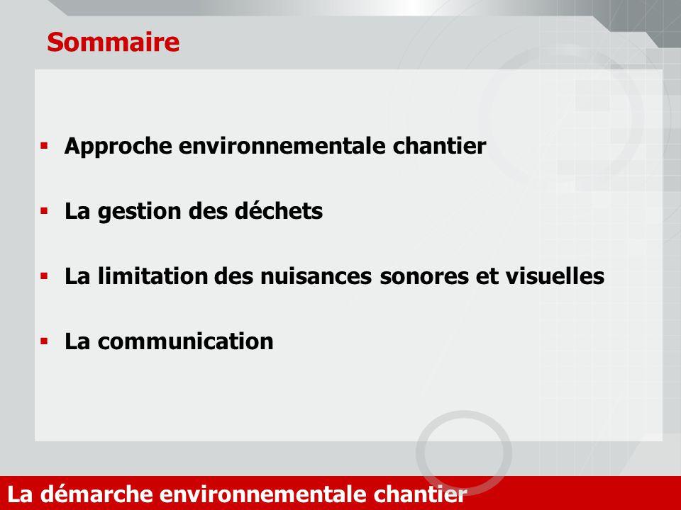 Sommaire Approche environnementale chantier La gestion des déchets La limitation des nuisances sonores et visuelles La communication La démarche envir