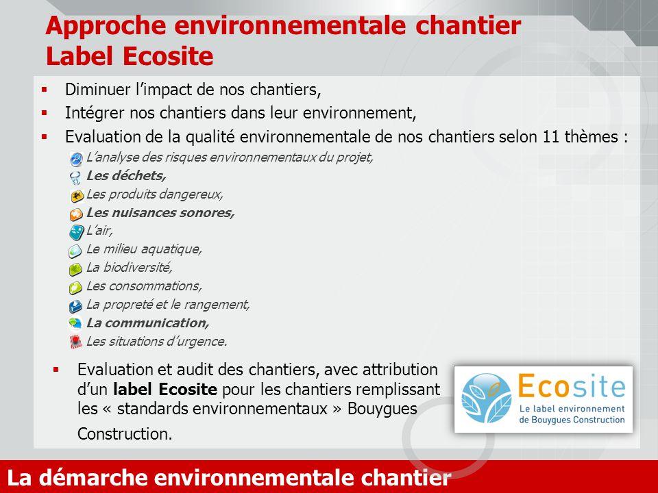Approche environnementale chantier Label Ecosite Diminuer limpact de nos chantiers, Intégrer nos chantiers dans leur environnement, Evaluation de la q