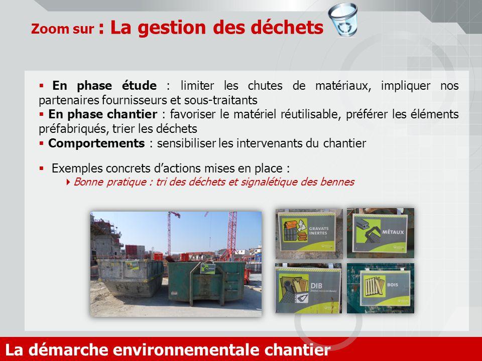 Zoom sur : La gestion des déchets La démarche environnementale chantier En phase étude : limiter les chutes de matériaux, impliquer nos partenaires fo