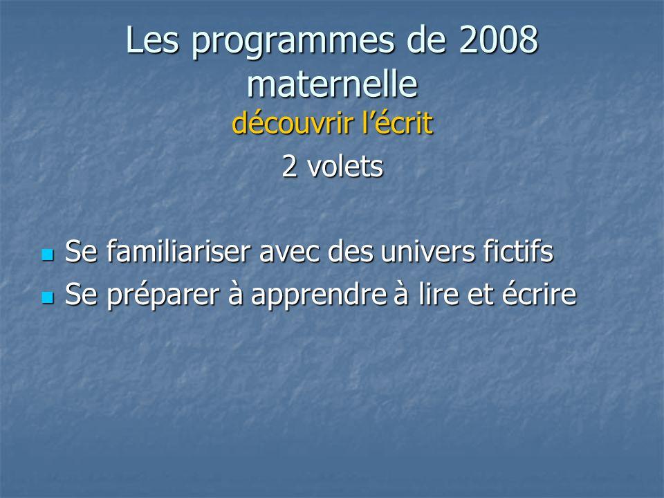 Les programmes de 2008 maternelle découvrir lécrit 2 volets Se familiariser avec des univers fictifs Se familiariser avec des univers fictifs Se préparer à apprendre à lire et écrire Se préparer à apprendre à lire et écrire