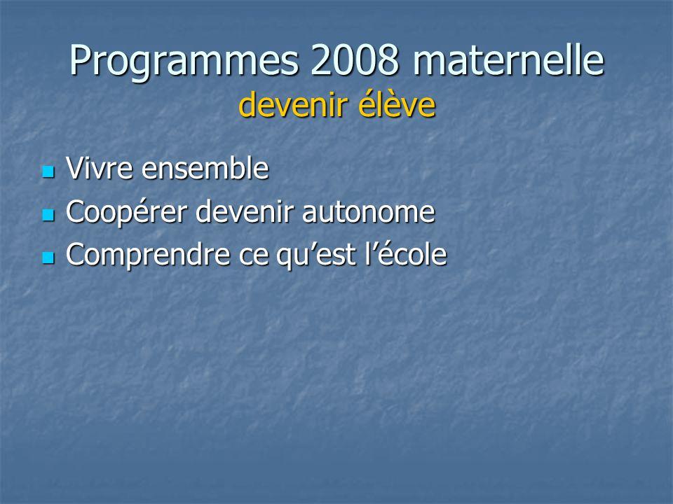 Programmes 2008 maternelle devenir élève Vivre ensemble Vivre ensemble Coopérer devenir autonome Coopérer devenir autonome Comprendre ce quest lécole Comprendre ce quest lécole