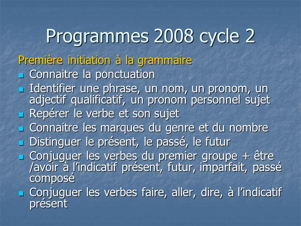 Programmes 2008 cycle 2 Première initiation à la grammaire Connaitre la ponctuation Connaitre la ponctuation Identifier une phrase, un nom, un pronom, un adjectif qualificatif, un pronom personnel sujet Identifier une phrase, un nom, un pronom, un adjectif qualificatif, un pronom personnel sujet Repérer le verbe et son sujet Repérer le verbe et son sujet Connaitre les marques du genre et du nombre Connaitre les marques du genre et du nombre Distinguer le présent, le passé, le futur Distinguer le présent, le passé, le futur Conjuguer les verbes du premier groupe + être /avoir à lindicatif présent, futur, imparfait, passé composé Conjuguer les verbes du premier groupe + être /avoir à lindicatif présent, futur, imparfait, passé composé Conjuguer les verbes faire, aller, dire, à lindicatif présent Conjuguer les verbes faire, aller, dire, à lindicatif présent