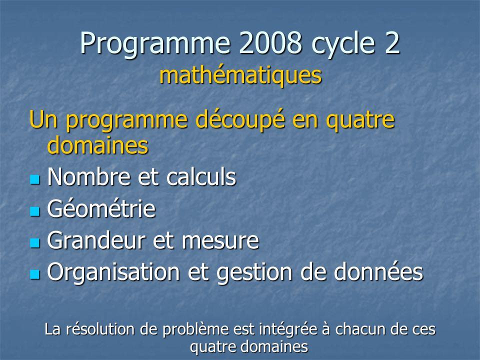 Programme 2008 cycle 2 mathématiques Un programme découpé en quatre domaines Nombre et calculs Nombre et calculs Géométrie Géométrie Grandeur et mesure Grandeur et mesure Organisation et gestion de données Organisation et gestion de données La résolution de problème est intégrée à chacun de ces quatre domaines