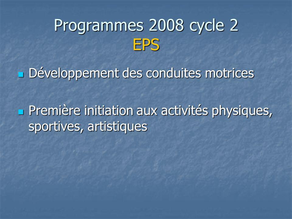 Programmes 2008 cycle 2 EPS Développement des conduites motrices Développement des conduites motrices Première initiation aux activités physiques, sportives, artistiques Première initiation aux activités physiques, sportives, artistiques