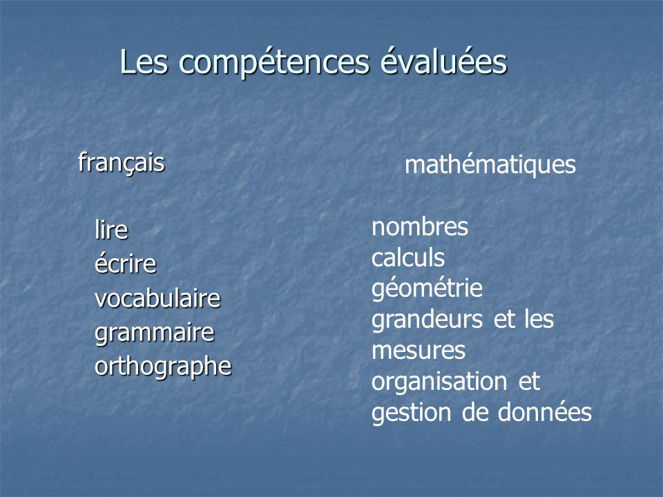 Les compétences évaluées français lire lire écrire écrire vocabulaire vocabulaire grammaire grammaire orthographe orthographe mathématiques nombres calculs géométrie grandeurs et les mesures organisation et gestion de données