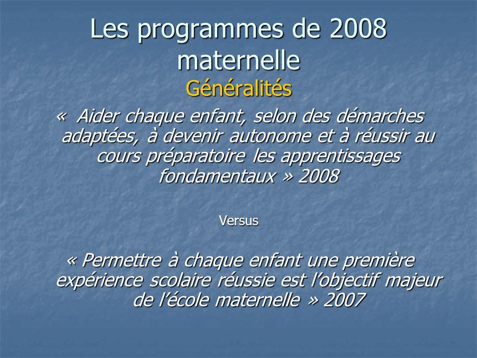 La GS fait partie de la maternelle Importance du langage oral Importance du langage Importance de léveil culturel Des repères pour organiser la progressivité des apprentissages Les programmes de 2008 maternelle Généralités