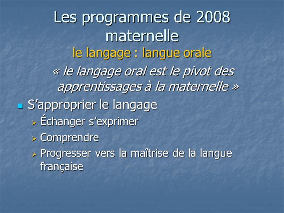Les programmes de 2008 maternelle le langage : langue orale « le langage oral est le pivot des apprentissages à la maternelle » Sapproprier le langage Sapproprier le langage Échanger sexprimer Échanger sexprimer Comprendre Comprendre Progresser vers la maîtrise de la langue française Progresser vers la maîtrise de la langue française