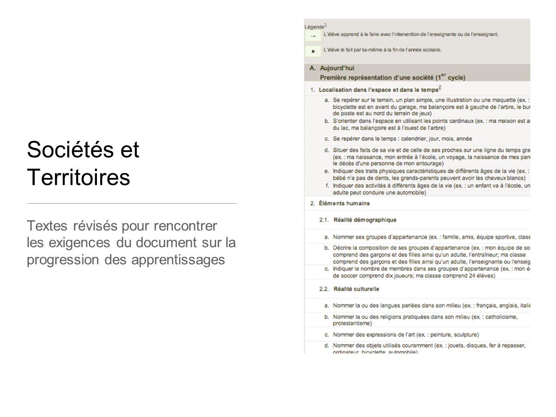 Textes révisés pour rencontrer les exigences du document sur la progression des apprentissages