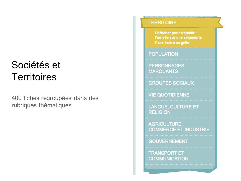 Sociétés et Territoires 400 fiches regroupées dans des rubriques thématiques.