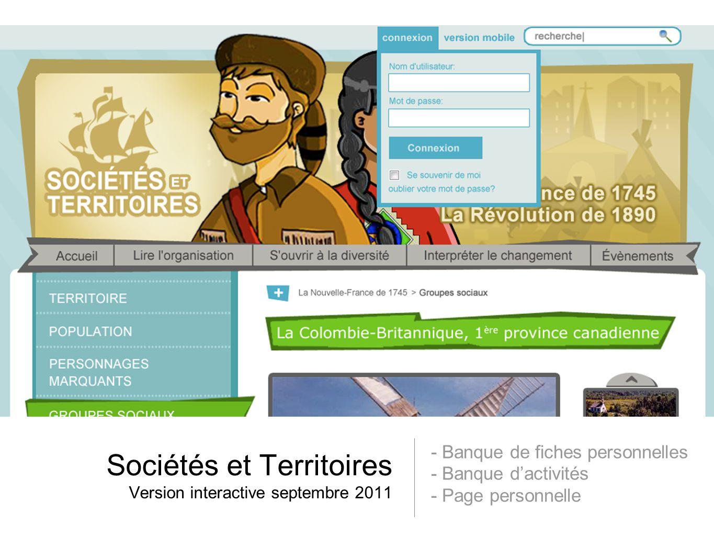 Sociétés et Territoires Version interactive septembre 2011 - Banque de fiches personnelles - Banque dactivités - Page personnelle