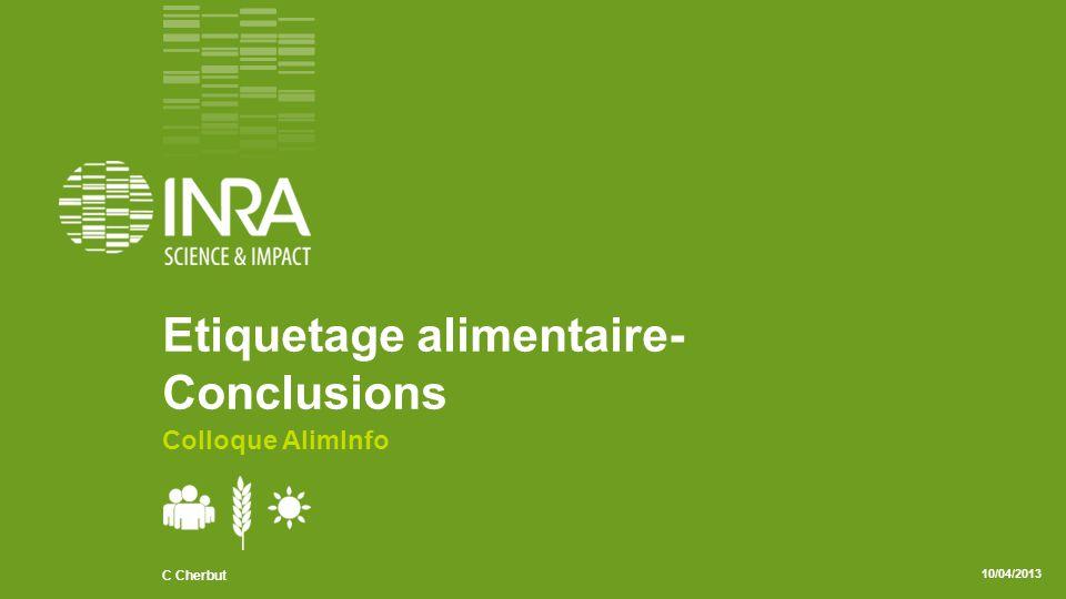 .02 C Cherbut/ AlimInfo 10/04/2013 Pour le consommateur Information Arbitrage