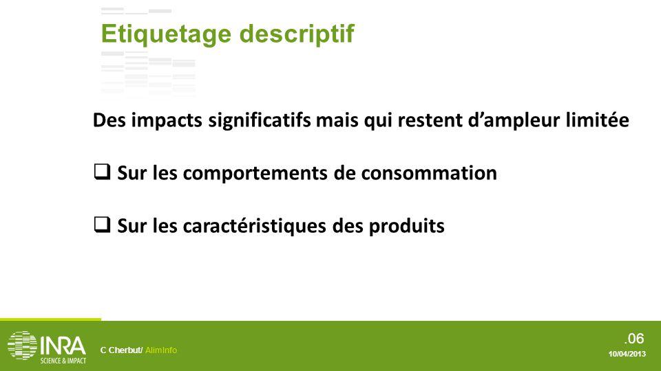 .07 Evolution de létiquetage Prescription Services C Cherbut/ AlimInfo 10/04/2013
