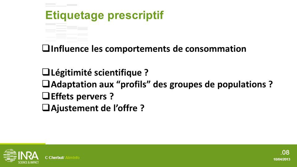 .09 Etiquetage service Smart label Etiquetage dématérialisé C Cherbut/ AlimInfo 10/04/2013