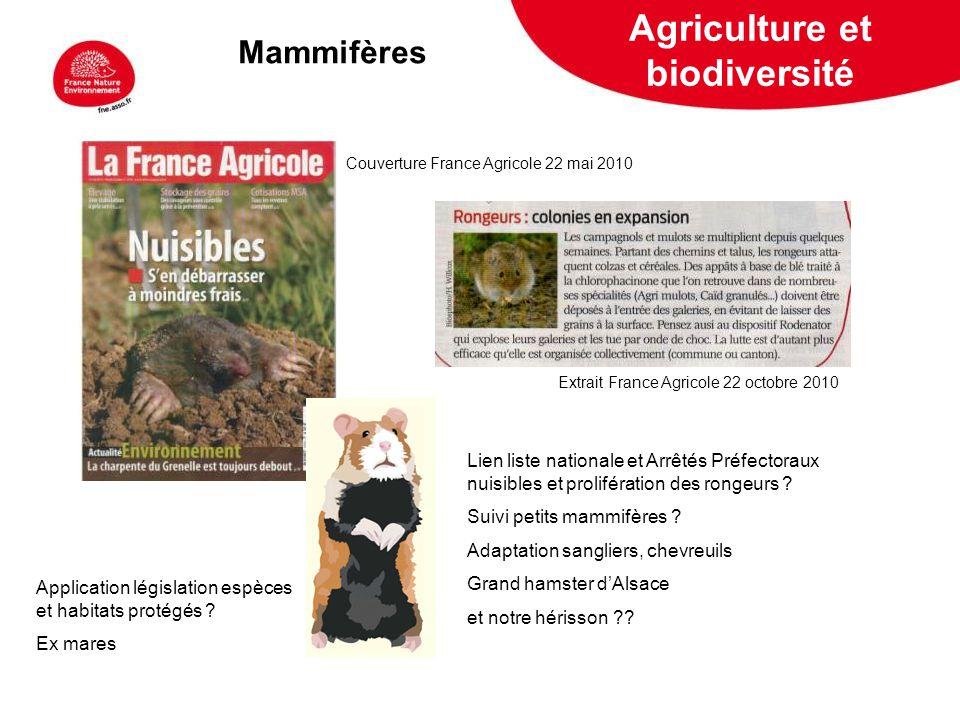 5 février 2009 Mammifères Extrait France Agricole 22 octobre 2010 Couverture France Agricole 22 mai 2010 Lien liste nationale et Arrêtés Préfectoraux