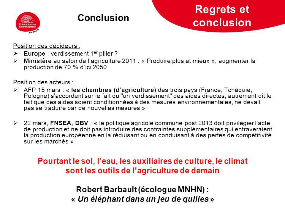 5 février 2009 Regrets et conclusion Position des décideurs : Europe : verdissement 1 er pilier ? Ministère au salon de lagriculture 2011 : « Produire
