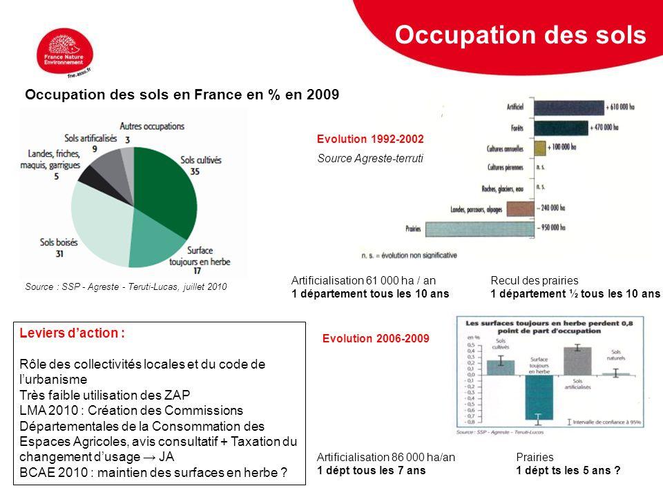 5 février 2009 Occupation des sols Source : SSP - Agreste - Teruti-Lucas, juillet 2010 Occupation des sols en France en % en 2009 Evolution 1992-2002
