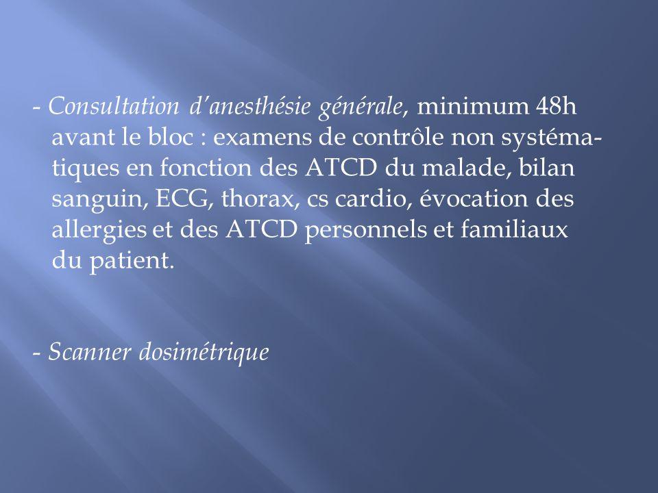- Consultation danesthésie générale, minimum 48h avant le bloc : examens de contrôle non systéma- tiques en fonction des ATCD du malade, bilan sanguin