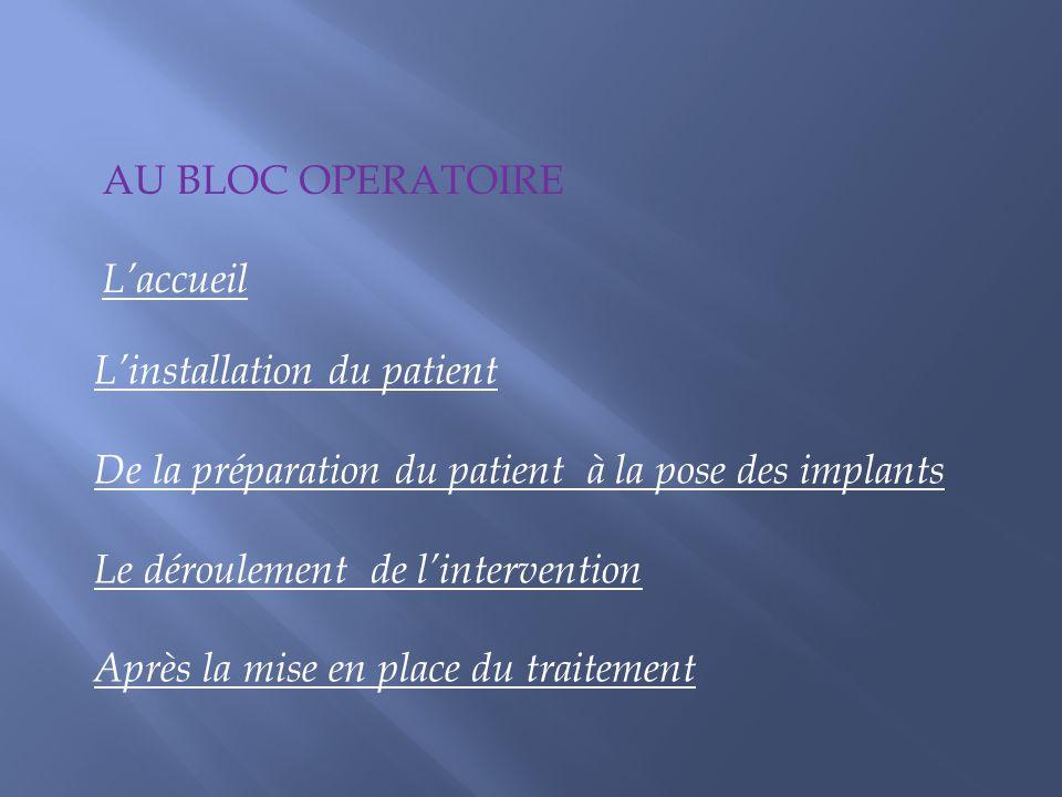 Linstallation du patient De la préparation du patient à la pose des implants Le déroulement de lintervention Après la mise en place du traitement AU B