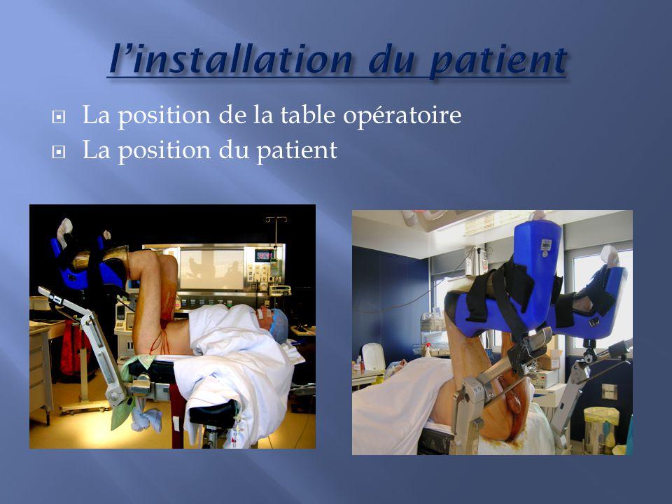 La position de la table opératoire La position du patient