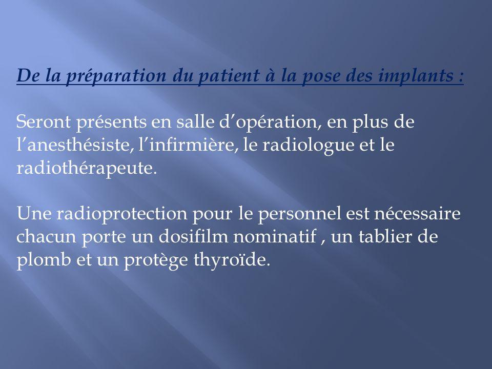 De la préparation du patient à la pose des implants : Seront présents en salle dopération, en plus de lanesthésiste, linfirmière, le radiologue et le
