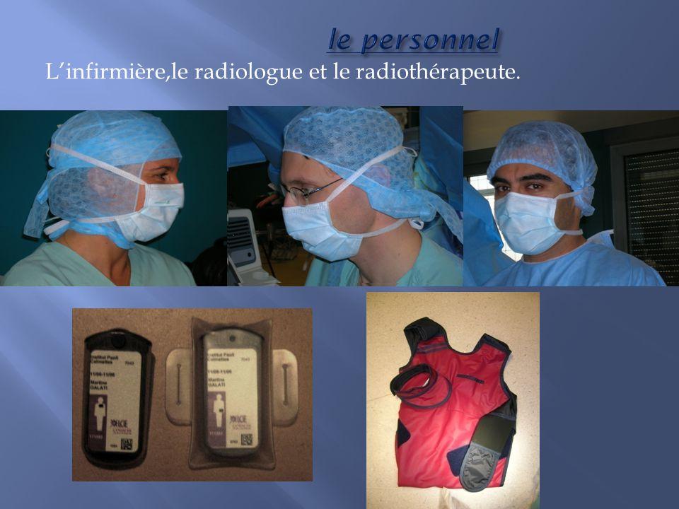 le personnel Linfirmière,le radiologue et le radiothérapeute.